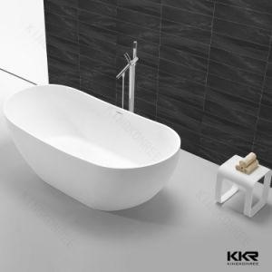 Vasca di bagno ovale di pietra artificiale della stanza da bagno di figura