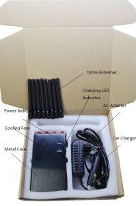 Portátil ajustable de 8 bandas 3G 4G en todo el mundo de la señal de celular Jammer