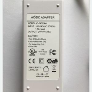 24V 2.5A Adaptador de Corriente pasado UL, FCC, GS, CE, RCM