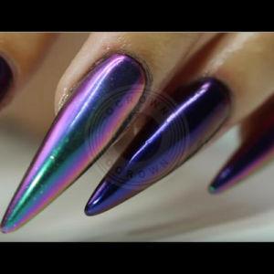 Лак для ногтей искусства Unicorn сверкающие хромированные зеркала заднего вида пигмента гель польский Chameleon порошок