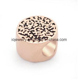 Lettre ronde cordon avec placage or rose