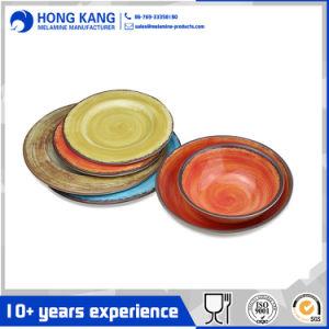 Haltbarer Gebrauch-Mehrfarbenmelamin-Essgeschirr-Teller-Set
