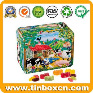 Rectangular de metal repujado dulces caramelos de fruta de envases de latas para niños