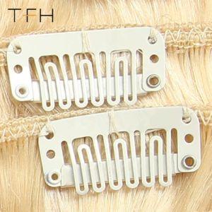 Cabelos Moda superior 14161820222426máquina feita Remy Hair 8 clipes de Conjunto de Extensões de cabelo humano Full Head Set loira #613 Color cabelo liso