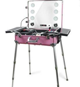 회전 메이크업 트레인 상자, 빛 미러를 가진 분홍색 여행 아름다움 트롤리 장식용 상자