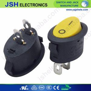 Forma redonda em preto no pino 2 SPST de desligar o interruptor de báscula