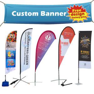 Praia de impressão de Aniversário personalizado de promoção de exposições Street Suporte exterior arvorando o rolo de tecido de pop-up travando a malha de vinil flexível de PVC Publicidade Banner Flag Display
