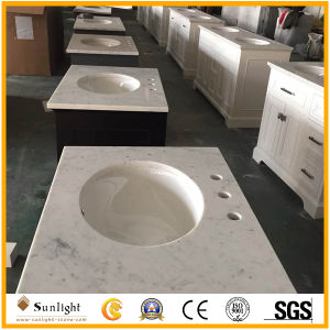 Custom poli Salle de bains en marbre blanc de Carrare Vanity Tops avec évier