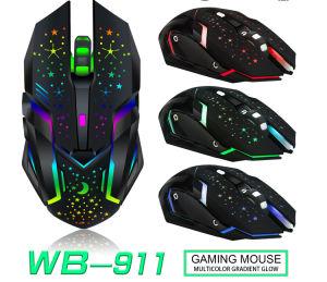 6D Última silencioso o Mouse Wireless Optical Mouse Gaming Mouse recarregável USB silenciosa 2400 Bateria incorporada para PC Laptop Gradiente Multicor Glow