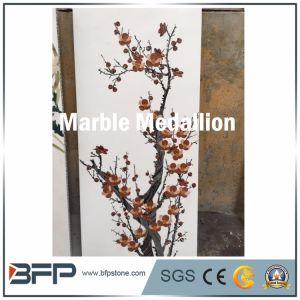Wintersweet Pattern, jet d'eau Médaillon de marbre Panneau pour parfaire la décoration