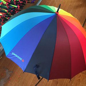 Ombrello variopinto aperto della pioggia di golf del Rainbow 16k dell'automobile promozionale