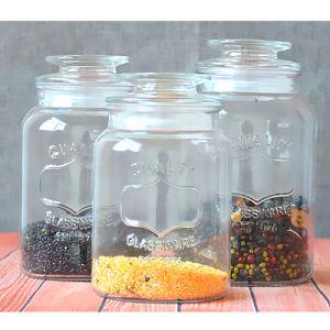 Vasi di vetro dell'alimento della scatola metallica del farmacista libero rotondo con la lavagna con i coperchi stretti