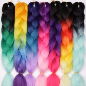 il jumbo di 100g/Pack 24inch Kanekalon intreccia il tono sintetico di Ombre due dei capelli colorato