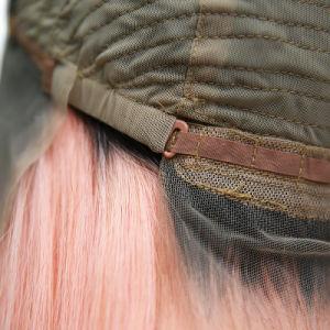 Mão atada curto Bob Ombre cor-de-rosa de raiz preta Glueless Lace Cabeleiras Dianteiro