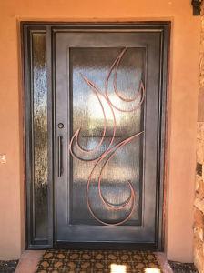 بسيطة أسلوب [ورووغت يرون] باب مع مزدوجة لوح زجاج