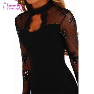 Hechizo de amor Sequin negra de manga larga Bodycon vestido MIDI