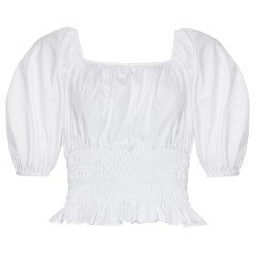 Bonitinha Smocked Branco cintura superior de cultura com mangas Puff