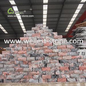 立方体の庭のテラスの通路Sidewayのための石造りの玉石の石のペーバーを舗装する中国の赤い花こう岩