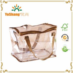 金の配管が付いている洗面用品袋のジッパーの袋の構成PVC透過装飾的な袋