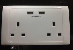 Lycek Bs Prise murale USB (USB chargeur) 2 ports USB double piste 250V 13A (UK type)