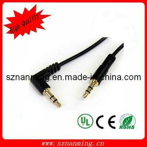 maschio stereo ad angolo retto del cavo di 3.5mm audio ad oro maschio placcato