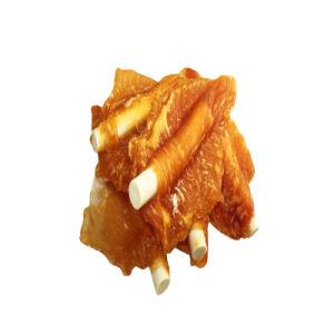 Цыпленок повесил трубку на белом кальция палки животных Pet Продовольственной