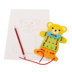L'orso educativo dei bambini di legno Veste-in su il puzzle del gioco