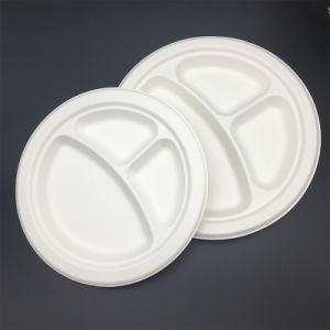 El 3 de 9 pulgadas ronda del compartimento de la placa de bandejas de caña de azúcar ecológica