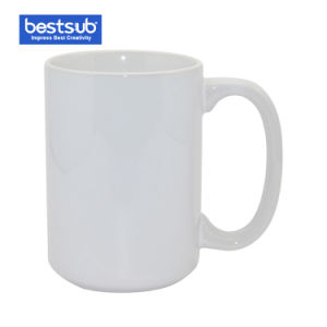 Promoção de Sublimação Bestsub 15 Oz Cerâmica Branca Foto Caneca chávena de café (B201)