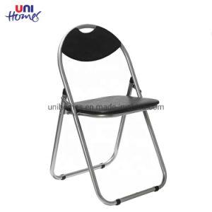 Metal de vinilo negro silla plegable con asa.