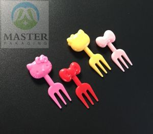Criativo descartáveis de plástico de animais fofos Garfo de frutas
