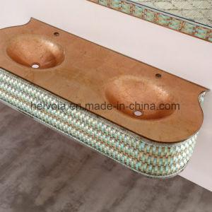 8 gesundheitlicher Ware-Badezimmer-Bassin-Zubehör-Schrank-Badezimmer-Möbel-festes Holz Kurbelgehäuse-BelüftungMDF mit Spiegel-Edelstahl-Badezimmer-Eitelkeit