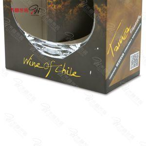 Contenitore di carta impaccante di regalo del Portable due del vino su ordinazione della bottiglia con il disegno di vetro del foro