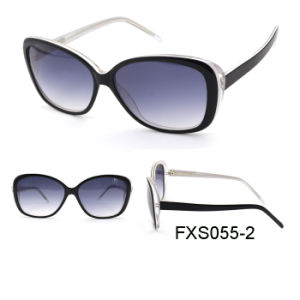 La mujer de acetato de fantasía con gafas de sol polarizados UV400 Cat3 Lente (FXS055)