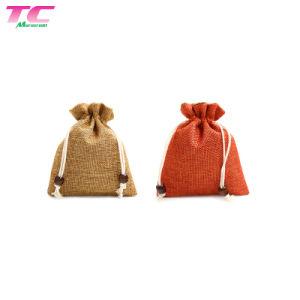 Commerce de gros sac de jute sac de toile de chanvre Entreposage Emballage Sac avec lacet de serrage avec logo imprimé