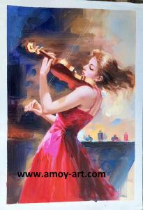 ホーム装飾のための印象的な音楽的な女性油絵