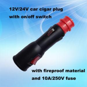 Красный светодиод переключателя 12V/24V Auto вилку кабеля питания с 10A нынешней