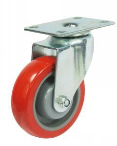 Girar la rueda de compras de la rueda Rueda PU (rojo) con vástago roscado, con freno