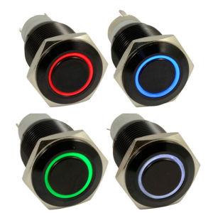 金属LED Black Latchingオン/オフ16mm Push Button Switch
