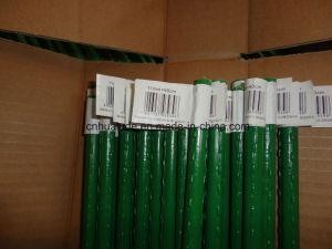 緑のプラスチックによって塗られるプラント棒または庭の鍋の花