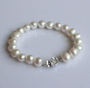 Klassisches kultiviertes Perlen-Frischwasserarmband (EB1544-1)
