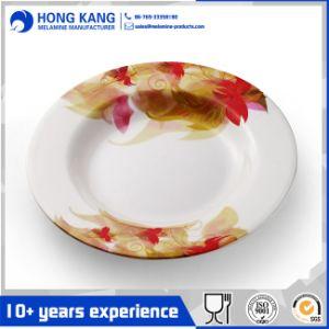 Redonda blanca de melamina de 14pulgadas plato