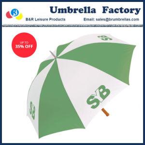 Sopra il poliestere graduato di verde del limone dell'ombrello con il marchio per fare pubblicità