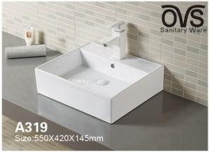 Rote rechteckige Badezimmer-Schrank-Bassin-Badezimmer-Eitelkeit