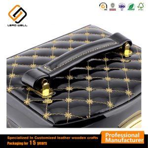 Semi-automático negro cuadro cosméticos Joyero de cuero de PU
