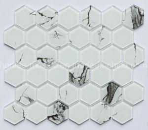Tegel van het Mozaïek van het Glas van Carrara van de Levering van de fabriek Hexagon Witte voor Muur