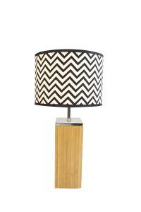 Le bambou Couleur naturelle avec lampe de table de base en bois noir&blanc/d'éclairage à LED de l'ombre de Tc/Light/ le mobilier et décoration