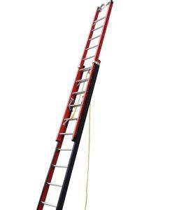 24/40 los pasos de fibra de vidrio escalera plegable telescópico de extensión de la FRP peldaño con el gancho del cable y V-rung