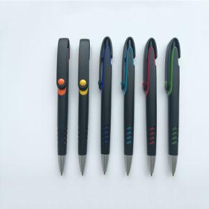 Bolígrafo Promocional de plástico negro con Logo (P1001C)