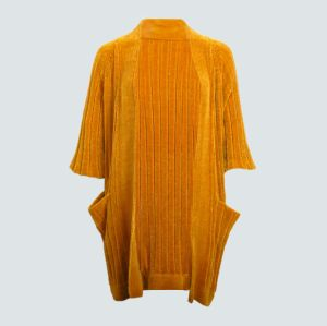 Chenille en tricot à nervure Kimono Veste en tricot avec poches pour les femmes